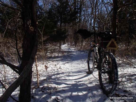 Snowy singletrack on the Lehigh Portland Trails in Iola, Kansas