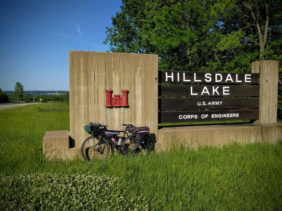 At the Hillsdale Lake entrance sign
