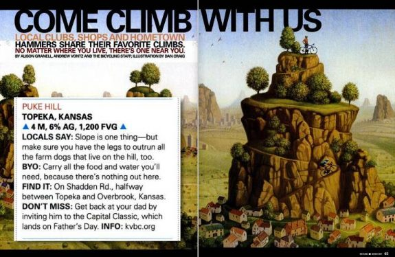 The March 2007 issue of Bicycling Magazine named Puke Hill as one of the Favorite Climbs in Kansas.