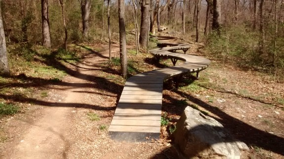 A skill-building elevated trail at the Slaughter Pen Hollow Trails.