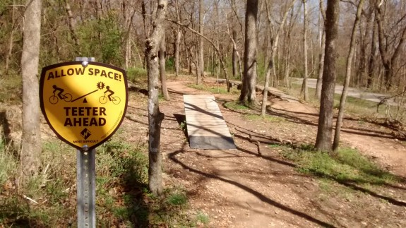 Teeter-totter at the Slaughter Pen Hollow Trails.