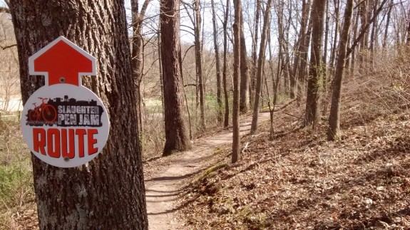 Part of the Slaughter Pen Jam event route at the Slaughter Pen Hollow Trails.