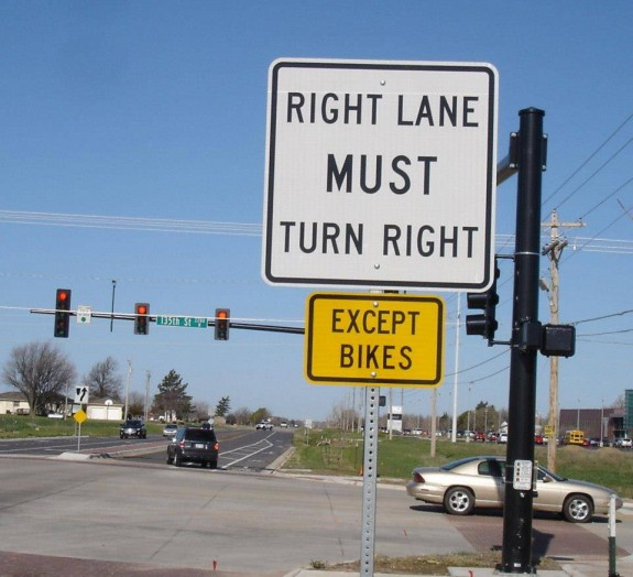 Very clear signage, we hope motorists and cyclists understand.